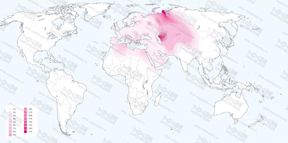 Карта плотности расселения представителей гаплогруппы T
