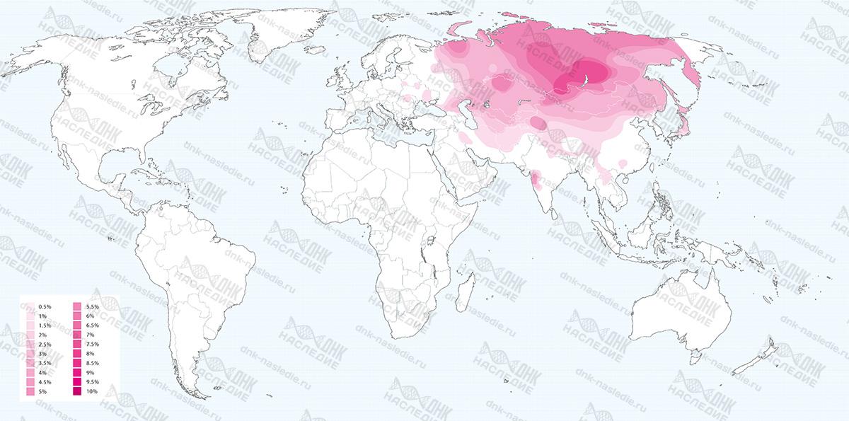 Карта плотности расселения представителей гаплогруппы C