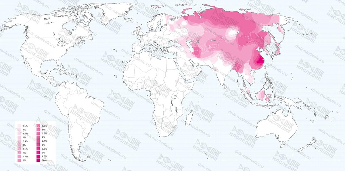 Карта плотности расселения представителей гаплогруппы D