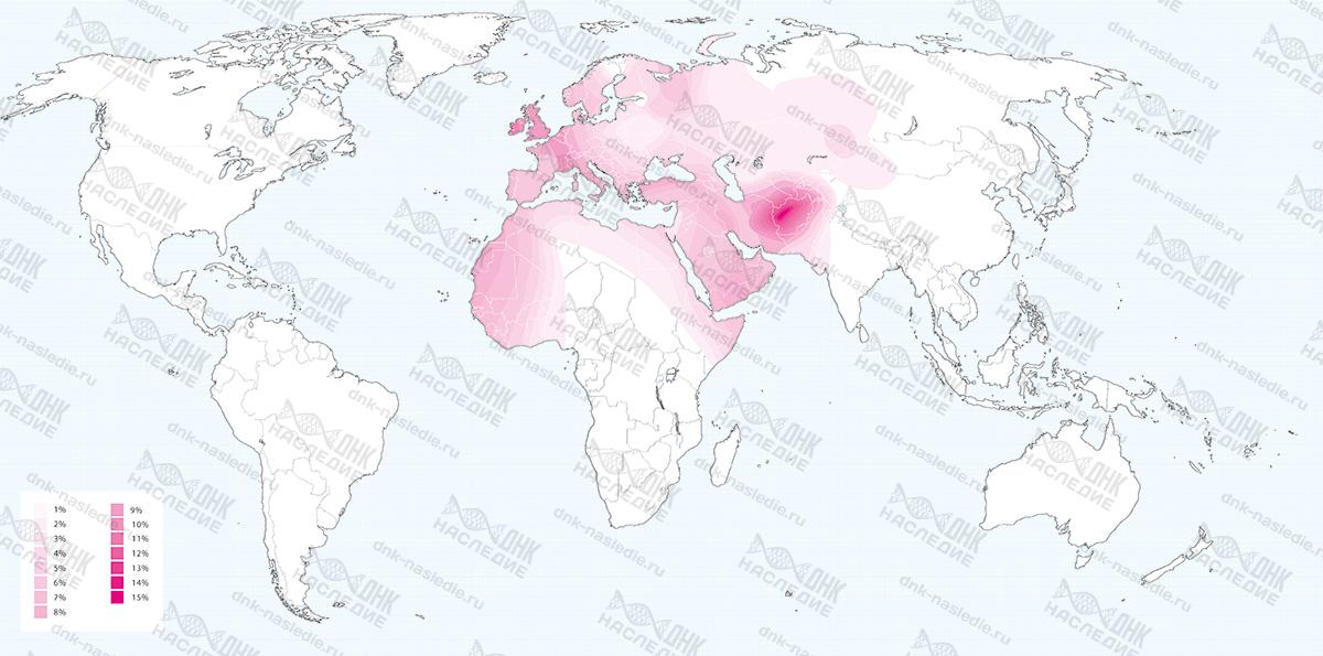Карта плотности расселения представителей гаплогруппы K